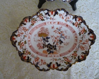 Royal Crown Derby in the IMARI pattern #1601 - Rococo & Scalloped Edge - Oval Serving Plate  + FREE matching Plate..Made in England