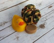 Crochet Bath Puff, Crochet Shower Puff, Crochet Bath Sponge, Brown Bath Puff, Camo Bath Poof, Multicolor Body Loofah, Colored Bath Puff