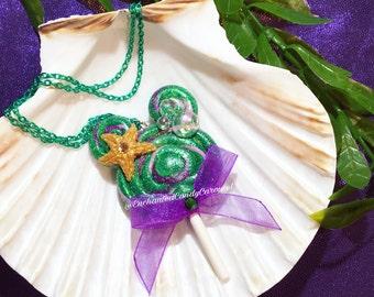 Ariel The Little Mermaid Starfish Mickey Head Candy Ears Lollipop Polymer Pendant Necklace