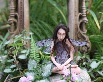 "5 x 7"" Blank Art Card:  Zen Garden Fairy in Lotus Pose"