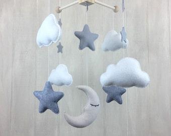 Cloud mobile - moon mobile - sleeping moon - star baby mobile - baby mobile - baby crib mobile - nursery mobile
