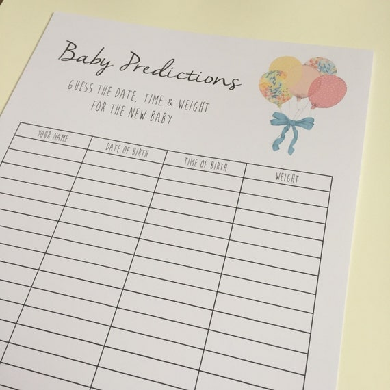 Guess The Birth Date Baby Shower Game: Baby Prediction Sheet A4