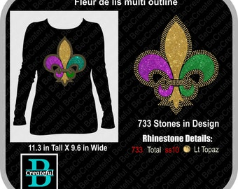 Fleur de lis multi rhinestone outline Digital Download, Rhinestone template
