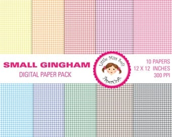 SMALL GINGHAM - digital paper pack - personal and commercial use