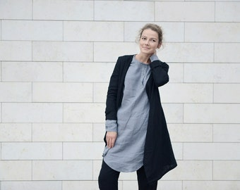 Linen cardigan with side pockets in Different Colours. Washed linen jacket.