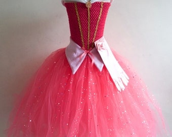 Disney Princess Aurora Inspired Tutu Dress,Party,Prom with Crystal Brooch,Gloves & FREE TIARA Various Sizes.