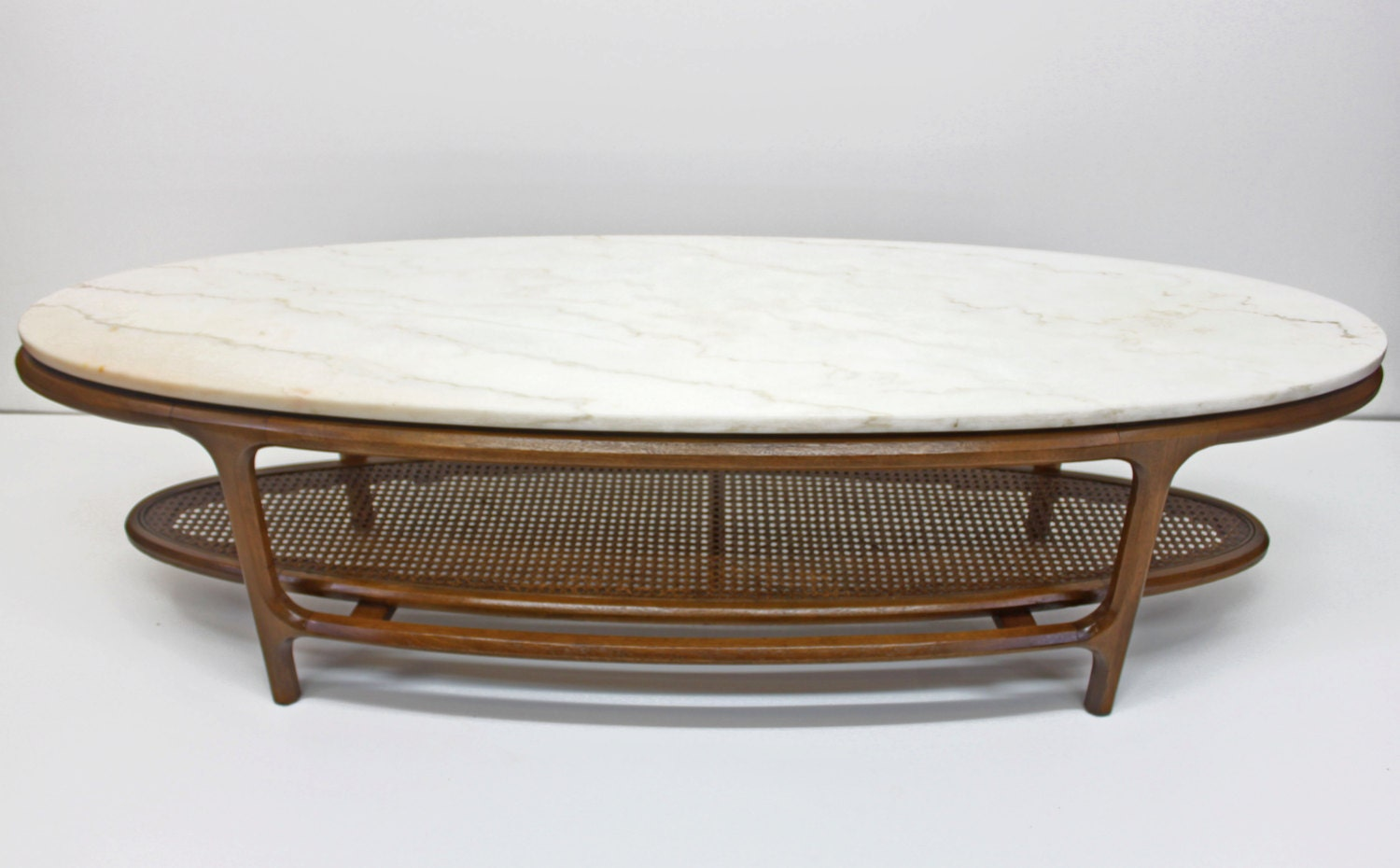 Lane Oval Marble Coffee Table Surfboard Mid Century Modern