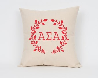 Alpha Sigma Alpha Wreath Pillow // Choose Your Ink Color // Greek Letter Pillows // Sorority Pillow // Big Little Gift // Sorority Letters