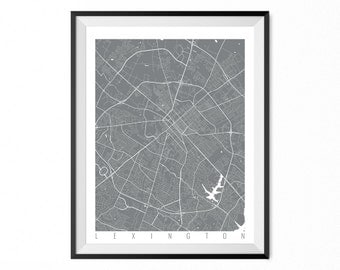 Lexington City Map Art Print / Lexington Poster / Lexington Wall Art / Kentucky Gift/ Kentucky home decor