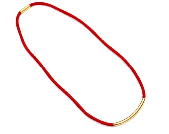 Red Necklace, Long Textile Necklace, Minimalist Fabric Necklace, Cord Necklace Red Gold, Rope Necklace, Simple Necklace, Colorful Jewelry