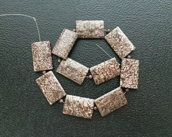 Full Strand Large Natural Brown Snowflake Obsidian Jasper Flat Rectangle Beads
