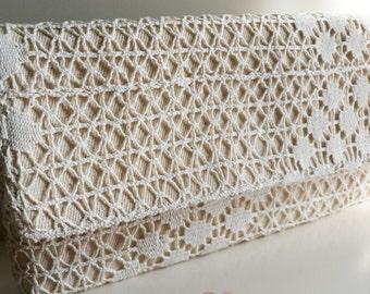 Rustic Hand Crochet Ecru Beige Cotton Lace covered Linen Wedding Bridal Bridesmaid Clutch Bag Purse Handbag