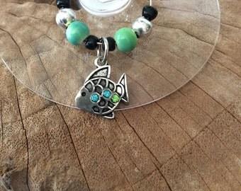 Stemware Charm/Wine Glass Charms/Fish Charm/Unique Personalized Stemware Charms/Wine Glass Jewelry