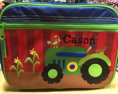 Green Tractor Stephen Joseph Monogrammed Lunch Box for Boys