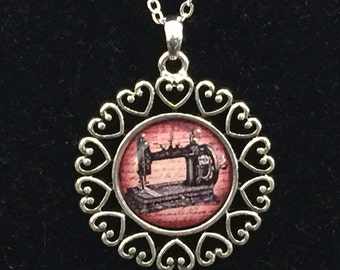 Sewing Machine Seamstress Open Heart Necklace With Chain