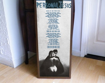 DEPECHE MODE, personal jesus, promo poster, lyric sheet,punk,new wave,indie,electric,pop music,1980,s ,typography,