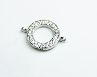 2pcs 925 Sterling silver Jewellery Findings Connector,Clear cubic zirconia with silver,9mm Loop Circle,1mm hole - FDSSCN0020