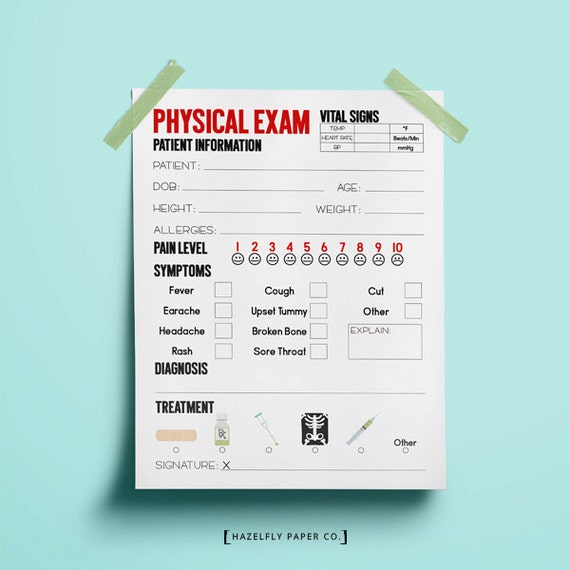 Doctor Physical Exam Form Printable Kids Pretend Play Doctor