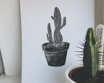 Botanical collection - Black cacti in a pot : handprinted and handmade original print