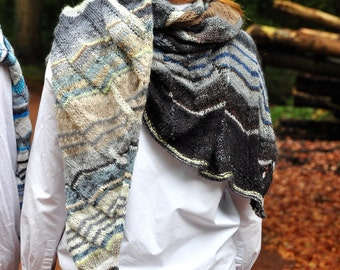 hand knitted scarf, triangular scarf