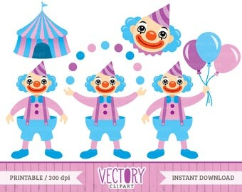 Clown Clipart Set in Blue and Purple, Circus Clown Clip Art by VectoryClipart