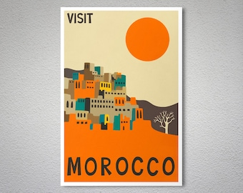 Visit Morocco Travel Poster - Art Print - Poster Print, Sticker or Canvas Print