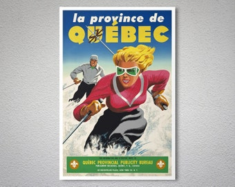 Quebec, Canada Vintage Ski Poster, Canvas Giclee Print