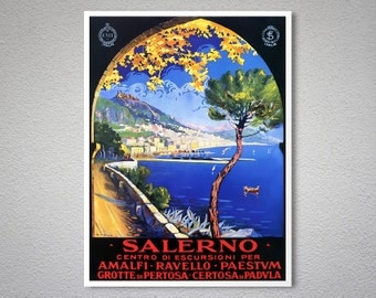 Salerno, Italy  Vintage Travel Poster, Canvas Giclee Print