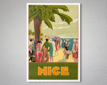 Nice France Travel Poster - Poster Paper, Sticker or Canvas Giclee Print