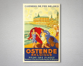 Ostende Belgique Reine des Plages VintageTravel Poster - Poster Print, Sticker or Canvas Print / Gift Idea