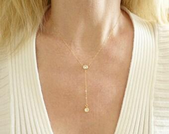 Gold Lariat Necklace + Lariat Necklace + Lariat Choker + Choker + Y Necklace + CZ Lariat + Cubic Zirconia Necklace + Y Necklace Gold + M3