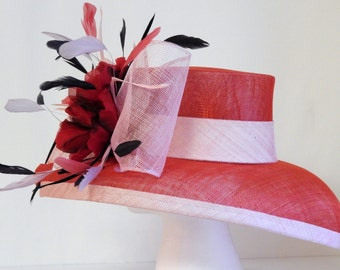 Red and Pink Wide Brim Hat
