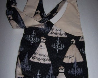 Crossover Bag , Tote , Small , Ballgown Pattern  , Black/Tan/Grey , Cotton Lining , Adjustable Straps , Handmade