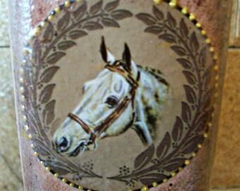 Decoupage bottle/ Vintage bottle/Decoupage on glass/Bottles with horse