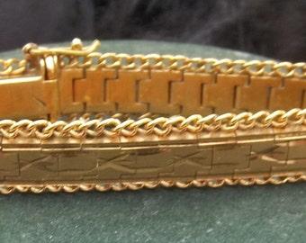 Vintge 14K Solid Gold Squarelink Etched Bracelet 7in : 14mm 39.6 G