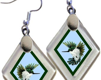 "Earrings ""Annie's Hummingbirds"" from rescued, repurposed window glass ~ art by Annie Miller Romero"
