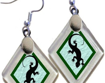 "Earrings ""Lizard Silhouette"" assorted colors, rescued, repurposed window glass~Lightening landfills one tiny glass diamond at a time!"