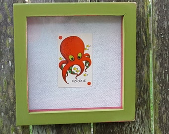 Vintage Wall Hanging with Octopus Game Card, Nautical Decor, Square Frame, Under the Sea Game Card, 70s Game Card, Unique Gift
