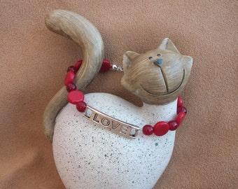 SALE!! Red love bracelet, beaded bracelet, love charm bracelet