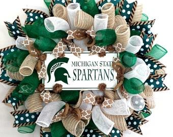 Michigan State, Michigan State Spartans, Spartans, Michigan, Wreath, Spartans Wreath, Michigan State Wreath