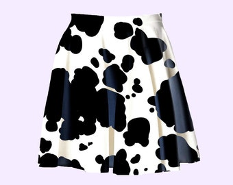 cow print skater skirt | pastel kawaii cute grunge animal print plus size skater skirt kitsch fairy kei pop kei harajuku 90s