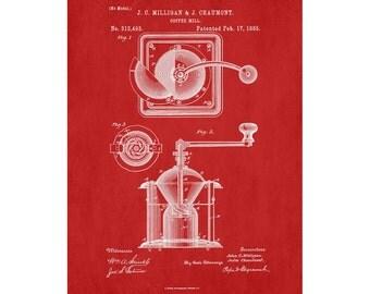 Coffee Grinder Patent Print Kitchen Wall Art Poster Coffee Grinder Blueprint Cafe Art Coffee Poster