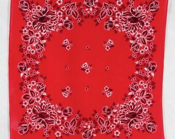 Red Floral Bandana Handkerchief Tricolor Cotton USA