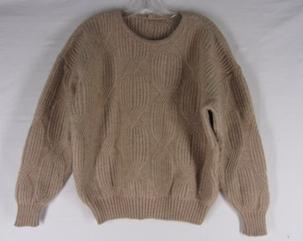Italian Cable Knit Sweater Camel Hair Wool Blend