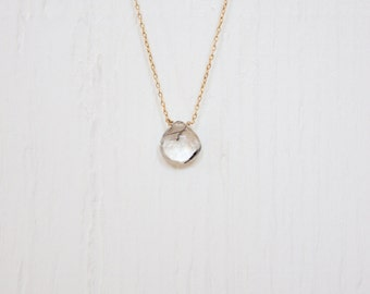 Handmade delicate gemstone necklace. Tourmaline Quartz teardrop on a 14kt gold filled chain.