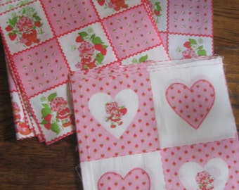 Lot of Strawberry Shortcake Fabric Squares cut from Panel