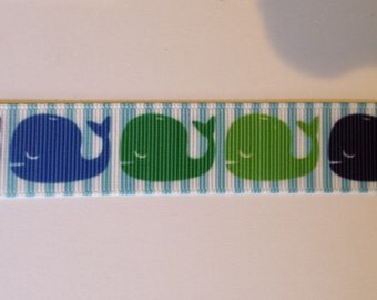 """Blue and Green Whales on Blue and White Striped 7/8"""" Inspired Grosgrain Ribbon"""