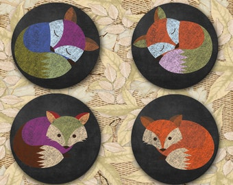 Autumn Fox Coasters, Coasters, Newlyweds, Shower Gift, Just Because Gifts - (0027)