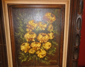 Vintage 1970's Still Life Oil Painting/ Signed/ Dated