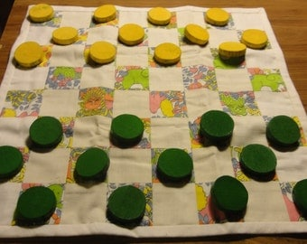 Vintage Handcrafted Checkers and Cloth Board
